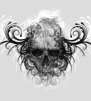 Sketch of tattoo art, skull with tribal flourishes