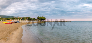 Sunrise at the beach in Sunny Beach on the Black Sea coast of Bulgaria. Panoramic view