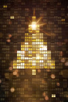 Lights inside skyscraper windows building a Christmas tree