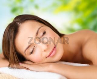 close up of beautiful woman at spa