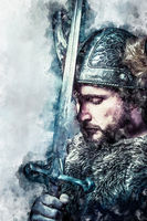 Watercolor, Viking warrior, male dressed in Barbarian style with sword, bearded