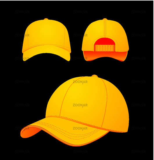Baseball cap vector illustration on dark background. Mock-up design