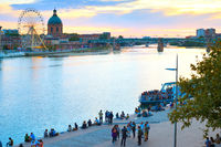 People Garone river Toulouse France