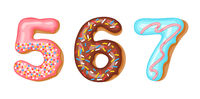 Donut icing numbers digits - 5, 6, 7. Font of donuts. Bakery sweet alphabet. Donut alphabet latters A b C isolated on white background