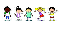 happy kids illustration playing and dancing children, vector -