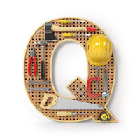 Letter Q. Alphabet from the tools on the metal pegboard isolated on white.