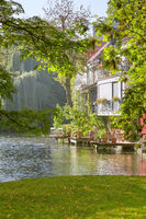 Historic houses by river Gera in inner Erfurt town in Germany