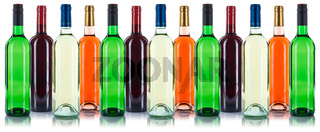 Wein Flaschen Weinflaschen in einer Reihe Sammlung Rotwein Weißwein freigestellt