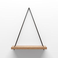 empty wooden shelf hanging on rope with light from the top