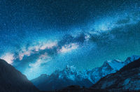 Milky Way and snowy mountains in Nepal at night