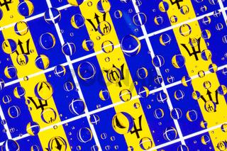 Rain drops full of Barbados flags
