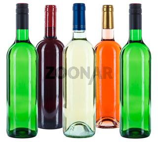 Weinflaschen Wein Flaschen bunt Gruppe Rotwein Weißwein Rose freigestellt