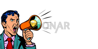 businessman with megaphone horizontal copy space background