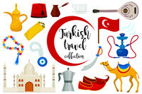 Turkey travel flat icon set, cartoon style. Turkish Collection of design elements with camel, Buzuk, mosque, hookah, shawarma, eye amulet. Vector illustration