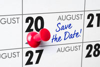 Wall calendar with a red pin - August 20