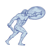 Hercules With Shield and Sword Drawing