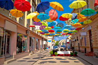 Town of Sombor colorful umbrella street