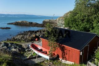 Fischerhütte auf der Halbinsel Lade bei Trondheim