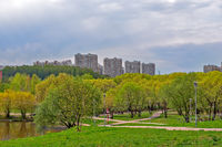 Moscow residential district with park and pond