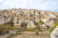 View of rock mountain in Cappadocia, Turkey