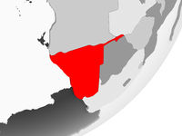 Namibia in red on grey map