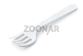 White plastic disposable fork