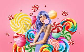 Computer drawing of young woman on party celebrating with candies isolated over pink background