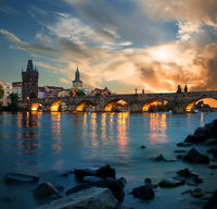 Dusk and Charles bridge