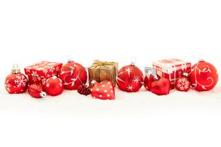 Rote Weihnachten Dekoration als Karte