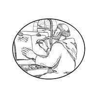 Monk-writing-illuminated-manuscript-BW-DWG