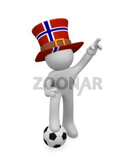 Norwegian soccer fan with soccer ball