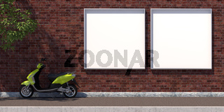 3d-illustration two square blank advertising billboard on brick wall