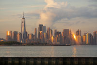 Dramatic Light Reflects off the Buildings and Infrastructure of Manhattan NY