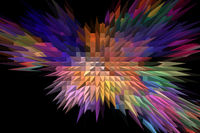 Fractal image: fancy abstract drawing, black background.