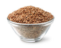 Flax seeds in glass bowl