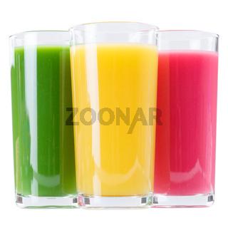 Saft Smoothie Smoothies im Glas Fruchtsaft Orangensaft isoliert freigestellt Freisteller