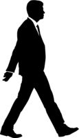 Silhouette businessman man in suit with tie on a white background
