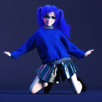 Digital 3D Illustration of a Manga Girl