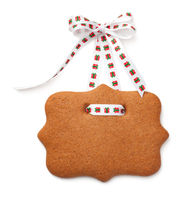 Gingerbread Label Cookie with Ribbon Bow Isolated on White Background