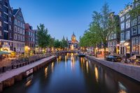Amsterdam skyline with Church of Saint Nicholas landmark in Amsterdam city, Netherlands