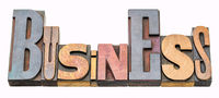 business word abstract in wood type
