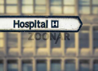 Grungy UK Hospital Sign