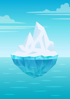 Iceberg floating on water waves with underwater part, bright blue sky with clouds, freshwater ice, glacier or ice shelf piece, vector