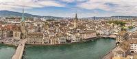 Zurich Switzerland, aerial view panorama city skyline from Grossmunster