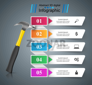 Hammer, repair icon. Business infographic.