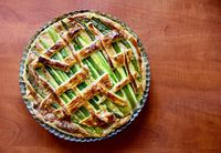 Asparagus cake directly above view