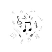 Music note, abstract sound signs on white