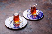 Traditional Turkish black tea in glass