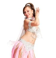 Sexy Belly Dancer wearing a white costume