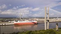 The Talmedge Memorial Bridge Crosses The Savannah River